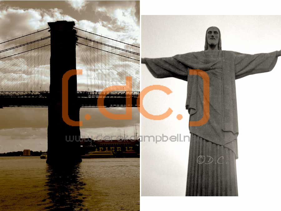 brooklyn bridge and christ the redeemer rio de janiero brazil